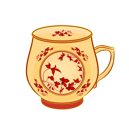 Mug of part of porcelain whit red flowers vector illustration without gradients Stock Vector - 27343441
