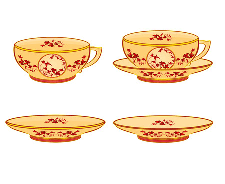 sugarbowl: cup part of porcelain whit red flowers vector illustration without gradients
