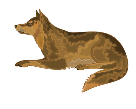 hardy: Lying dog vector illustration eps 8  without gradients