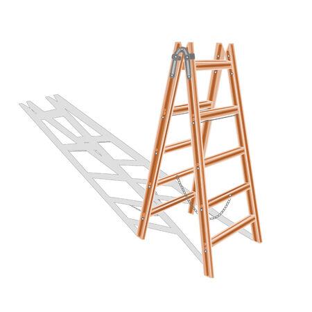stepladder: Brown wooden ladder  Illustration