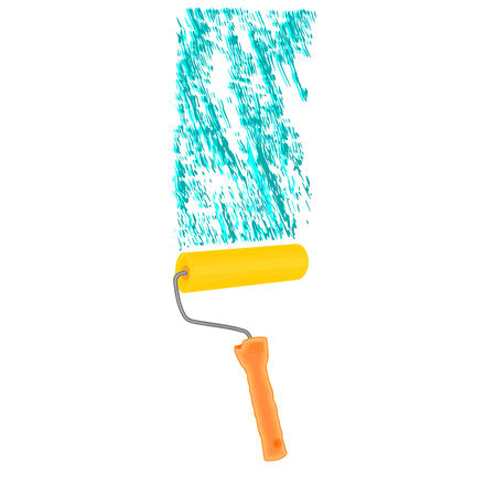 rollerbrush: Paint roller vector illustration without gradients