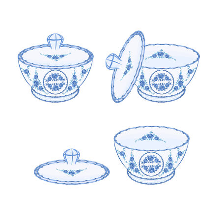 faience: Sugar bowl faience part of porcelain illustration without gradients  Illustration