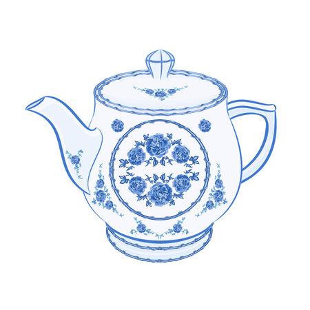 faience: Teapot faience part of porcelain illustration without gradients  Illustration