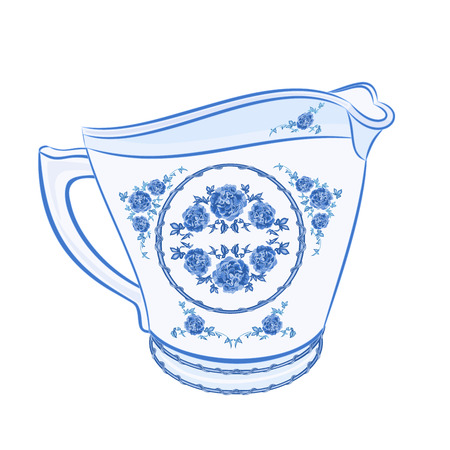 milk jug: Lattiera faience parte di porcellana illustrazione senza sfumature