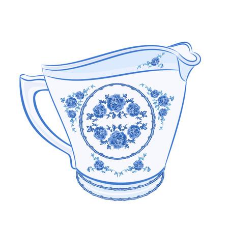 faience: Milk jug faience part of porcelain illustration without gradients