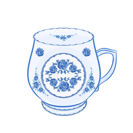 faience: Mug of faience part of porcelain illustration without gradients  Illustration