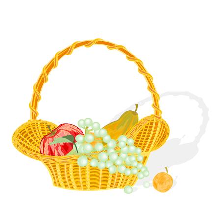 canasta de frutas: Cesta de fruta y melocot�n manzana uvas albaricoque sin gradientes Vectores