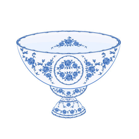 faience: Bowl of fruit faience  without gradients