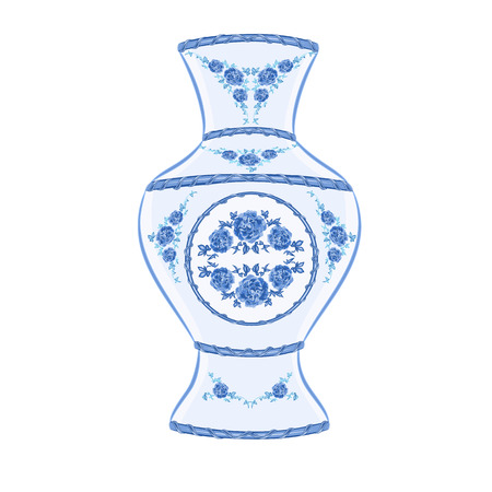 faience: Vase faience vintage illustration without gradients Illustration