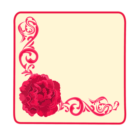 Button banner business card roses and ornaments