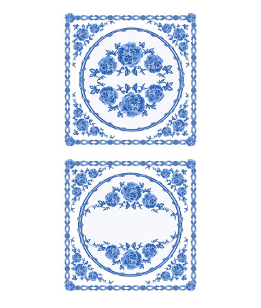 faience: Decoratin buton faience blue color vintage