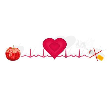 no background: Education Ekg heart apple ok cigarette no background for Healthcare  Illustration