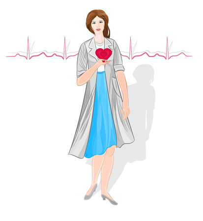 confidant: Female doctor of Cardiology vector without gradients