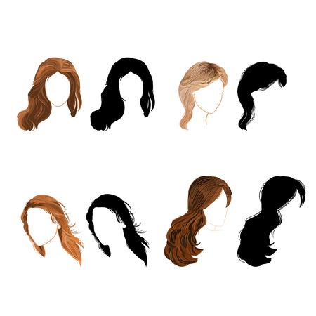 cabello negro: Ilustración natural y Vector silueta de cabello Establecer tiempo sin gradientes