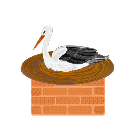 Stork and nest on a brick chimney vector illustration  Illustration