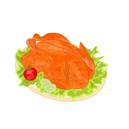 고명: 장식 벡터 일러스트와 함께 접시에 구운 휴일 터키 일러스트