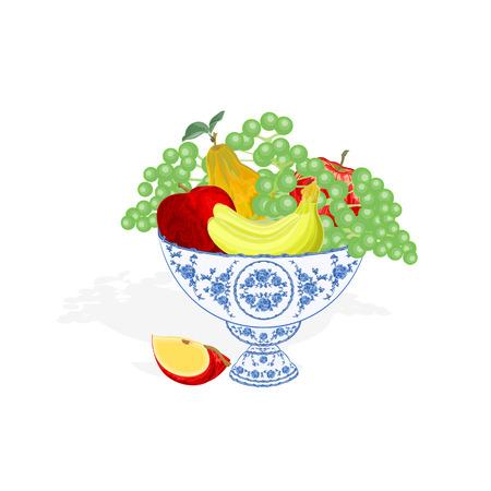 faience: Faience bowl blue color with fruit apple peach grapes bananas vector