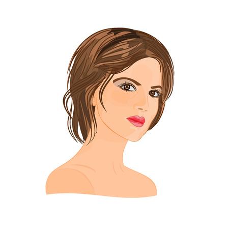 Mooie jonge vrouw met kort haar zwart haar vector illustratie