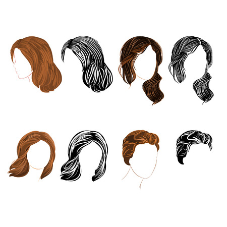 hair setting: Set long and short hair  natural and silhouette Vector Illustration