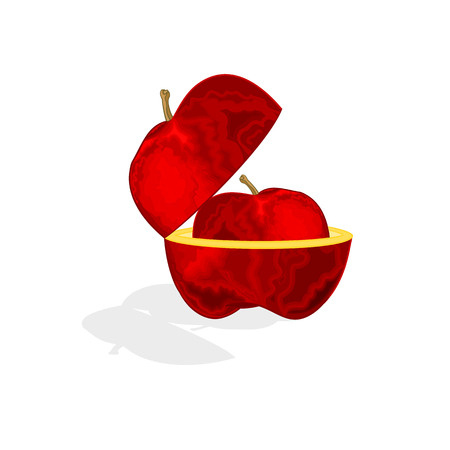 bite apple: Apple in the Apple healthy lifestyle vector illustration