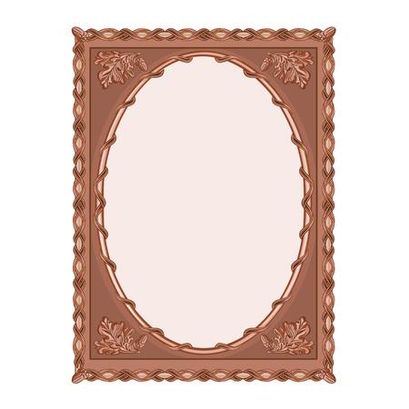 Wooden  frame carved oak leaf vintage vector illustration Vector
