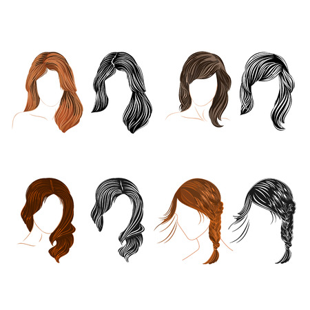 hair setting: Set of four long  hair natural and silhouette headrest Vector Illustration