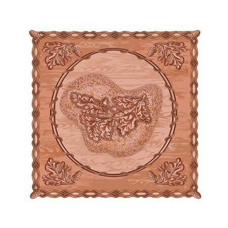 tallado en madera: Hojas de roble y bellotas woodcarving tema de la caza ilustración vectorial de la vendimia