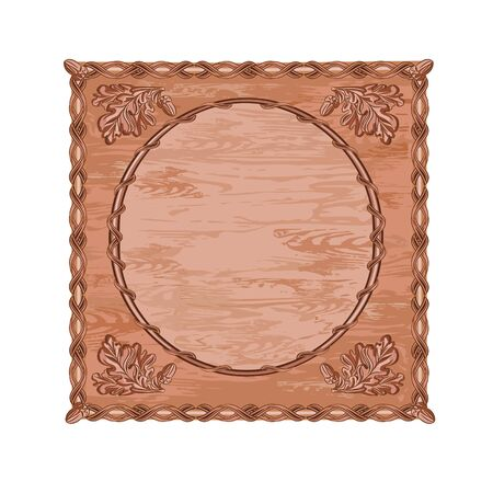 woodcarving: Decorative frame oak leaves and acorns woodcarving hunting theme vintage vector illustration