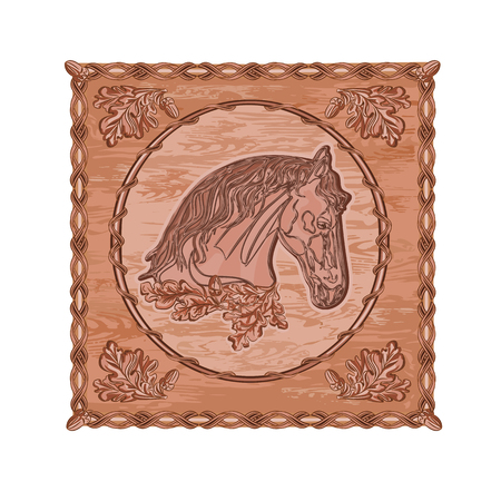 woodcarving: Horse and oak leaves and acorns woodcarving hunting theme vintage vector illustration