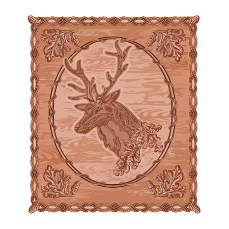 tallado en madera: Deer y hojas de roble y bellotas talla en madera caza tema de ilustración vectorial de la vendimia