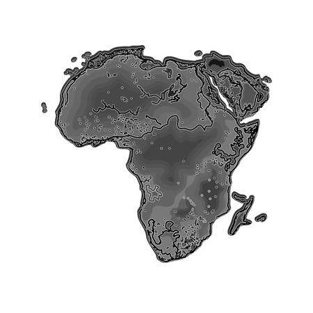 libya: Africa at night as engraving vector illustration