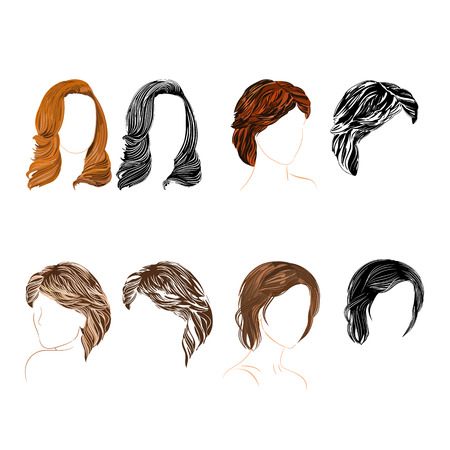 hair setting:  Set of four long  hair natural and silhouette Vector Illustration  Illustration