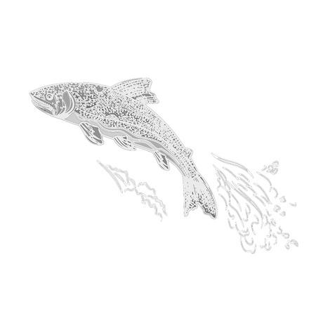 salmonidae: Trout salmonidae as vintage engraved black