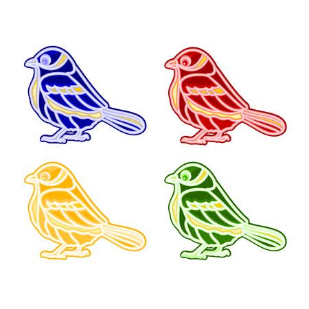 trimmings: Christmas trimmings bird faience vintage vector illustration Illustration