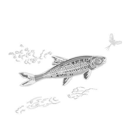 ephemera: Pesce e ephemera come vendemmia, inciso, illustrazione vettoriale nero Vettoriali