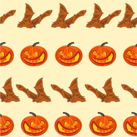 seamless texture: Halloween Seamless texture K�rbis und Bat Entsetzen abbildung