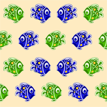 faience: Seamless texture fish blue and green faience Christmas motive vector