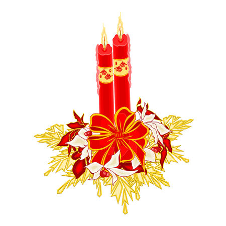 new yea: Christmas two candles with ribbon and poinsettia and berries and golden leaves vector illustration Illustration