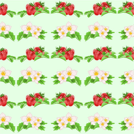 seamless texture: Nahtlose Textur Erdbeeren und Blumen gesunde Ern�hrung