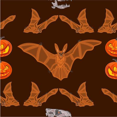 seamless texture: Halloween Seamless texture Fledermaus K�rbis und Sch�del Schrecken gesetzt Vektor-Illustration