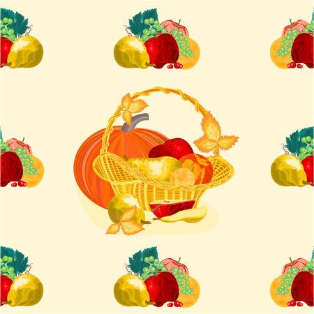 canasta de frutas: Perfecta textura cesta de frutas comida sana ilustraci�n vectorial