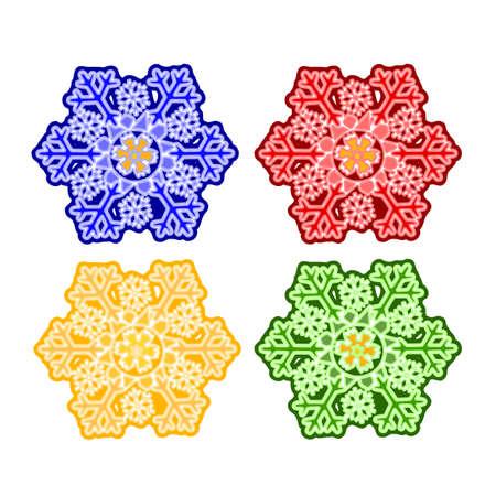 trimmings: Christmas trimmings snowflake faience vintage vector illustration