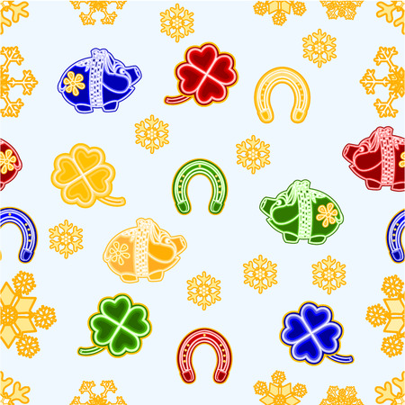 trimmings: Seamless texture symbols for luck Piggy cloverleaf horseshoe Christmas decorations  Illustration