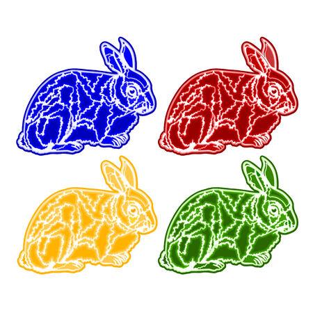 trimmings: Christmas trimmings rabbit faience vintage vector illustration Illustration