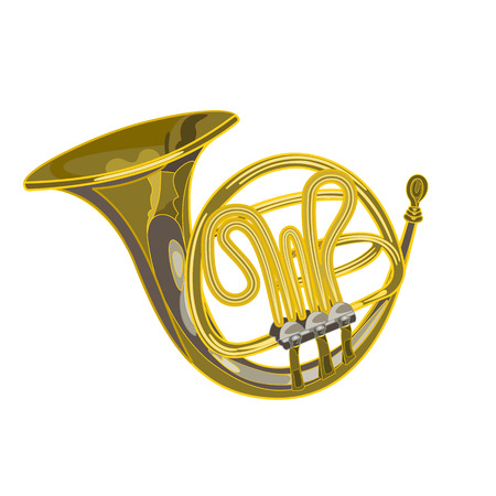 woodwind: French horn vector  woodwind musical instrument vector illustration