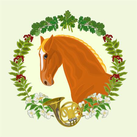 sorrel: Sorrel horse  head of stallion leaves and french horn hunting theme vector illustration Illustration