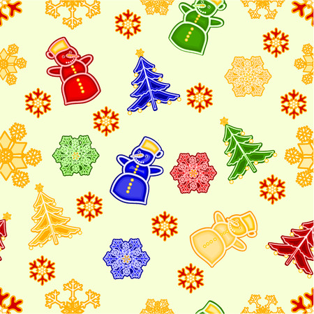 trimmings: Seamless texture snowman and snowflake and christmas tree Christmas decorations vector illustration
