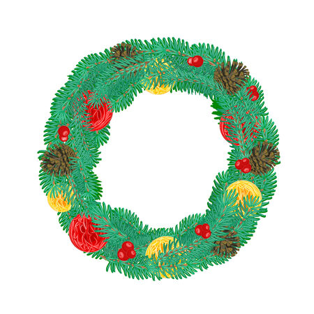 trimmings: Christmas Wreath with pine cones and Christmas trimmings vector illustration