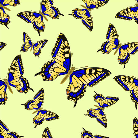 inachis: Seamless texture flight Butterfly Inachis io vector illustration