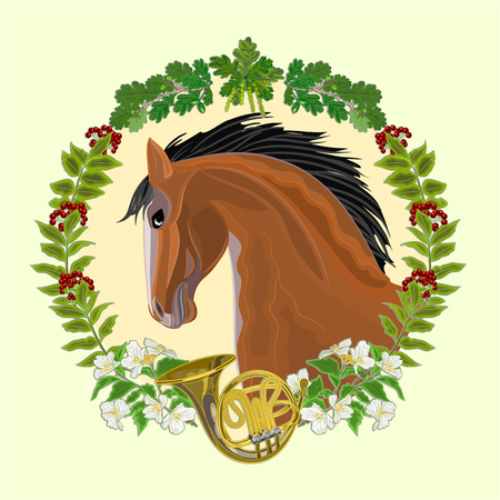 french horn: Dark Horse head of stallion leaves and french horn hunting theme vector illustration